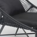 Zoom structure et coussin fauteuil de jardin noir design