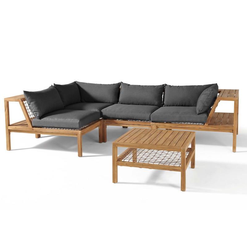 Salon de jardin bois acacia coussins gris 4 personnes