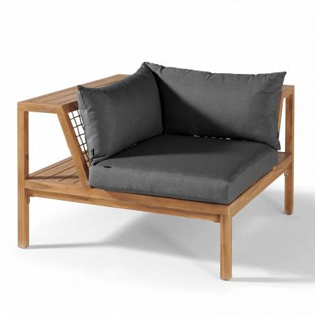 Salon 4 places acacia fauteuil d'angle coussins gris
