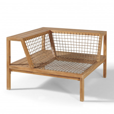 Salon 4 places acacia fauteuil d'angle structure