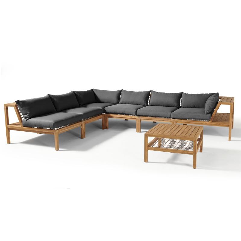 Salon de jardin d'angle en bois d'acacia et coussins gris