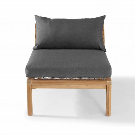 fauteuil bois acacia salon seychelles avec des coussins gris