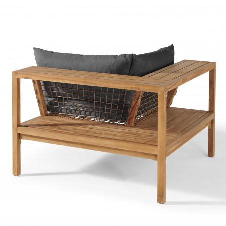 Fauteuil d'angle acacia avec étagère et coussins gris