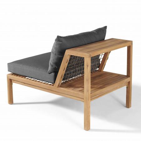Fauteuil salon de jardin acacia avec étagère et coussins gris