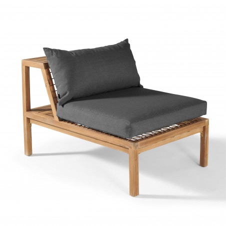 Canapé modulable coussins gris salon de jardin 6 places bois acacia