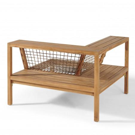 Structure fauteuil d'angle acacia avec étagère