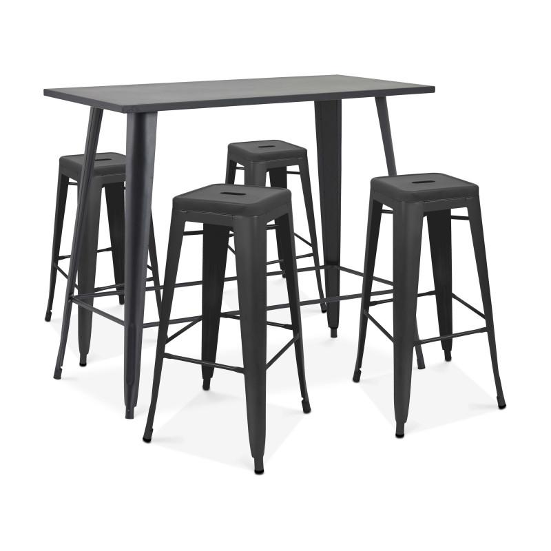 table haute en métal et 4 tabourets