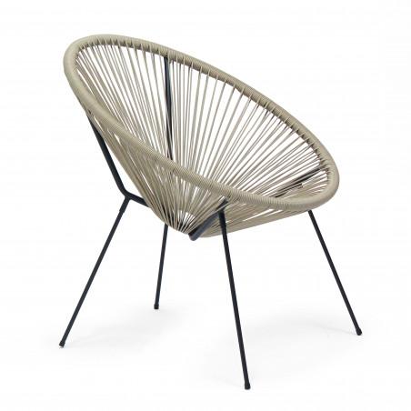 Lot de 2 fauteuils filaires en polyéthylène taupe