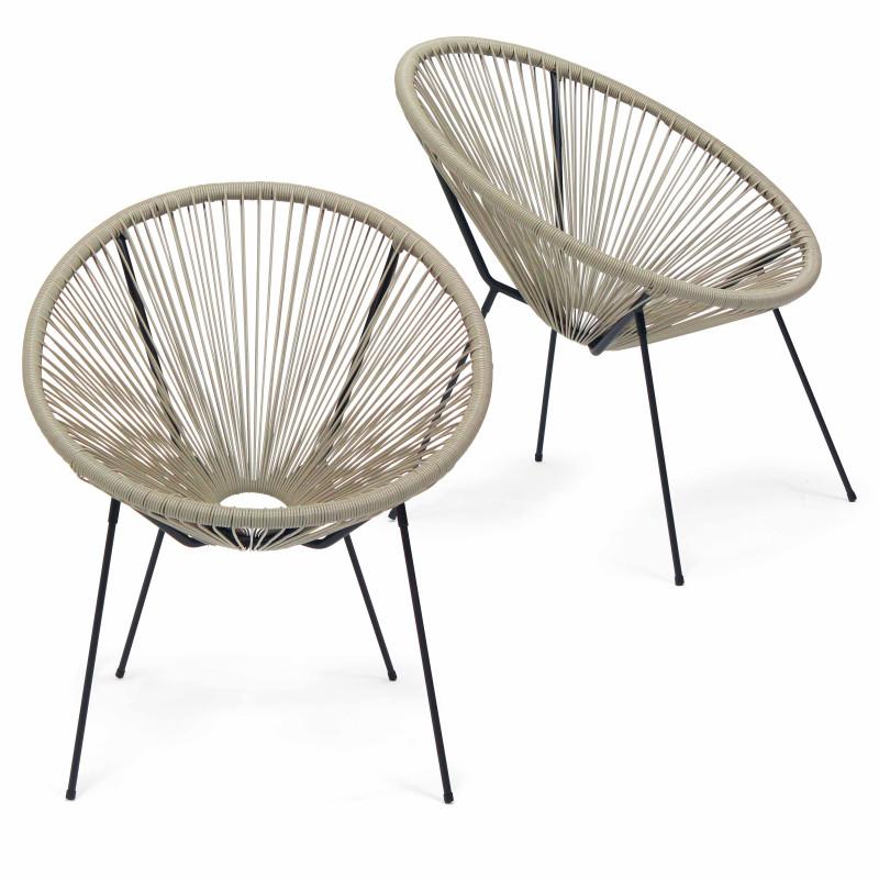 Lot de 2 fauteuils filaires couleur naturel