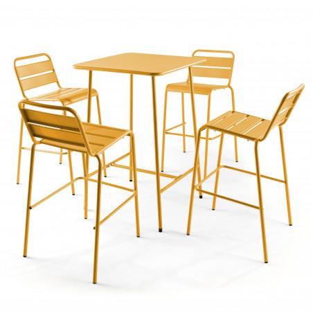Table de bar jaune en métal et 4 tabourets