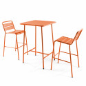 table bar orange et 2 tabourets