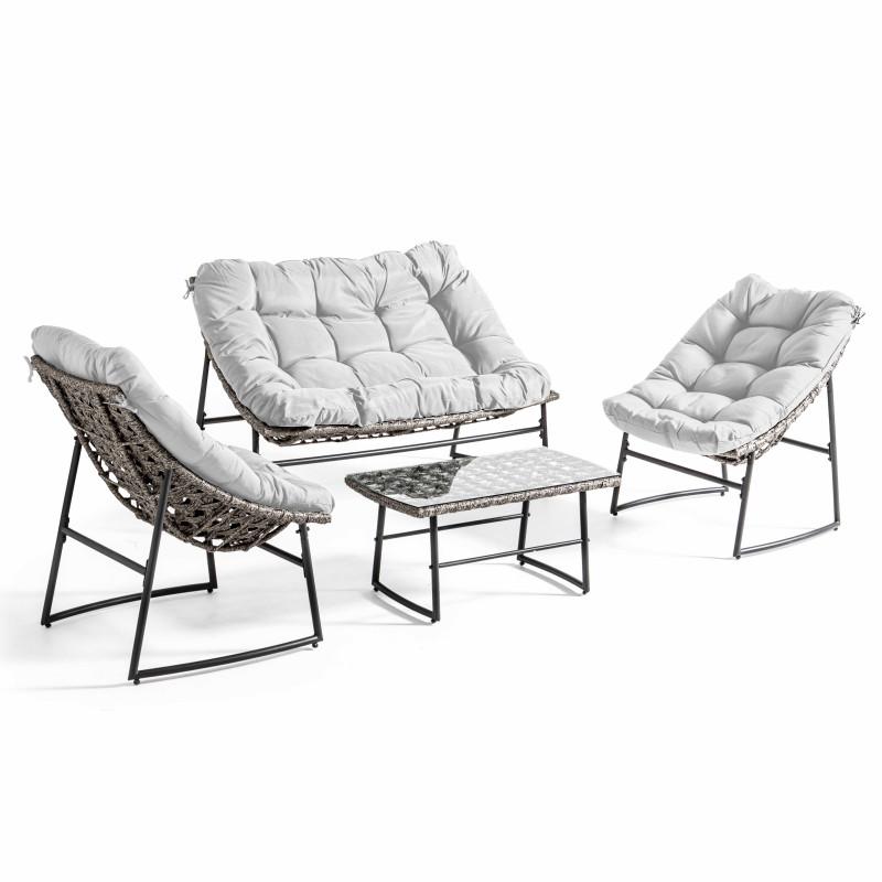 Salon de jardin 4 places avec coussins ecru