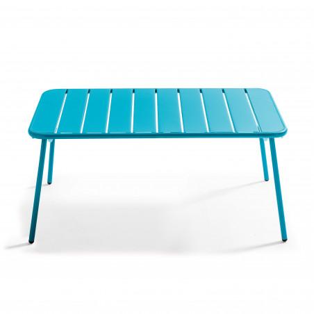 Table basse extérieure en métal bleue