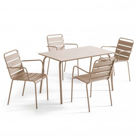 Salon table en métal TAUPE 4 personnes