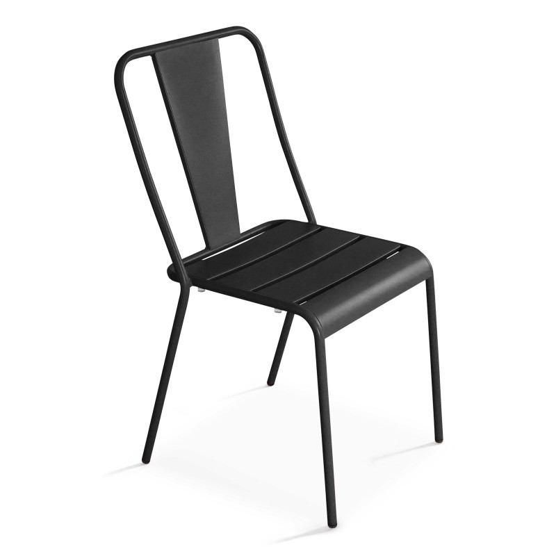 Chaise bistrot grise en métal DIEPPE