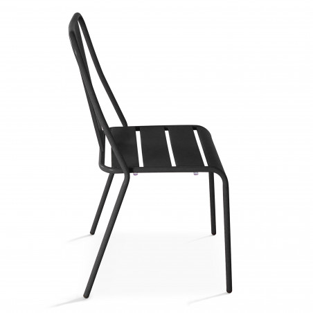 Chaise bistrot gris en métal DIEPPE   Mobeventpro
