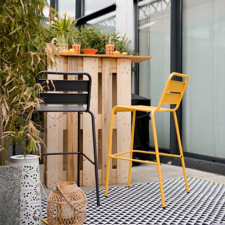 Tapis pvc outdoor blanc noir et jaune