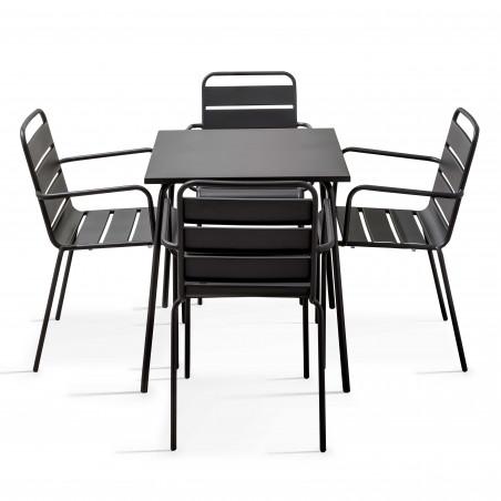Table CHR métal et fauteuils gris
