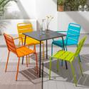 Table CHR métal gris et 4 fauteuils