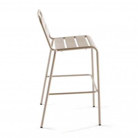 Chaise haute en métal TAUPE