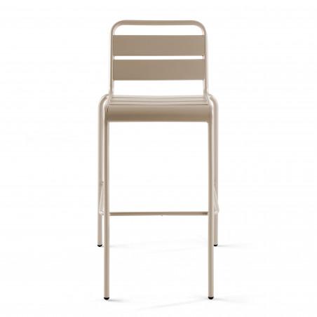 Chaise haute TAUPE en métal avec dossier