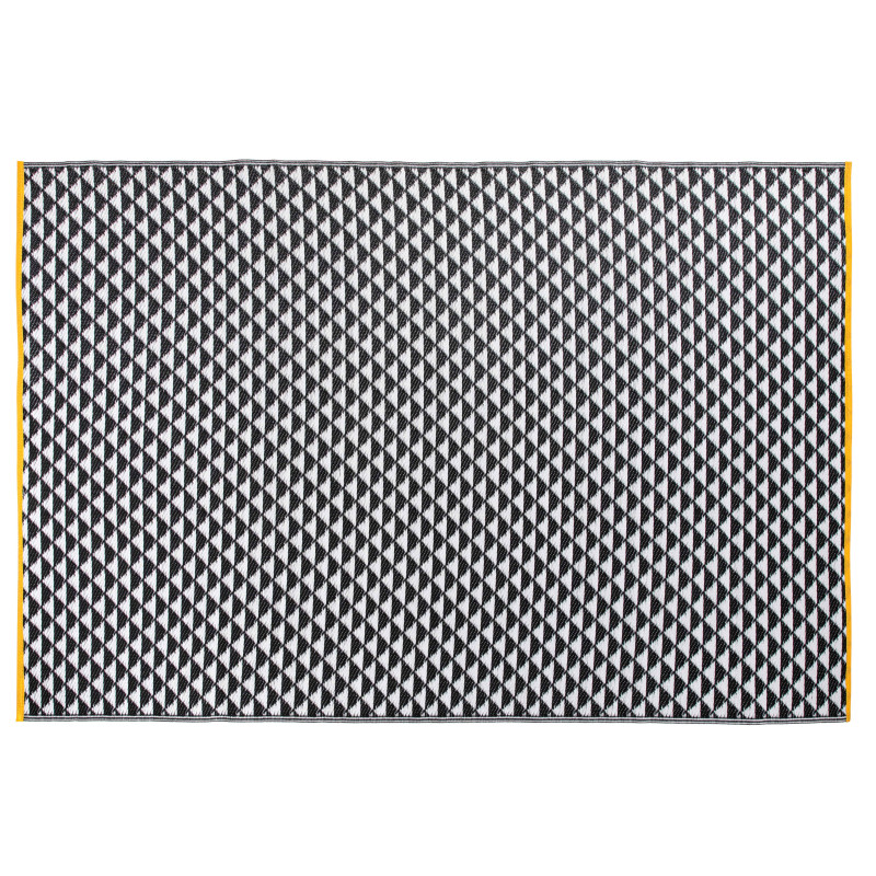 Grand tapis outdoor motif BLANC NOIR et JAUNE
