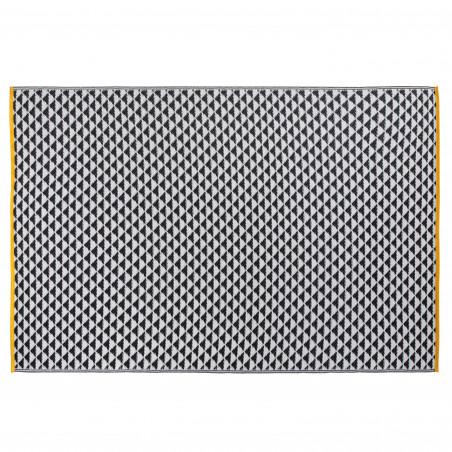 Grand tapis extérieur motif BLANC NOIR et JAUNE