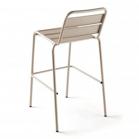 Chaise haute en métal avec dossier TAUPE
