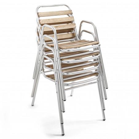 Chaise emplable café bistro bois et alu