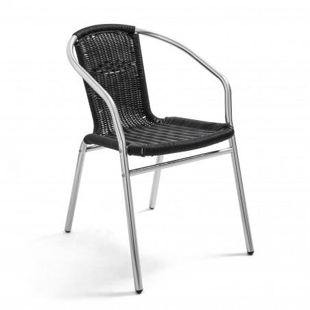 Chaise en alu et résine tressée NOIRE CHR