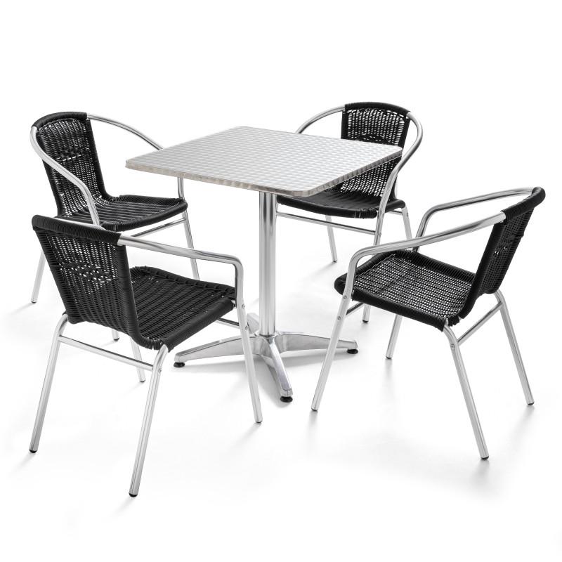 Table carrée alu et 4 fauteuils en résine NOIR CHR