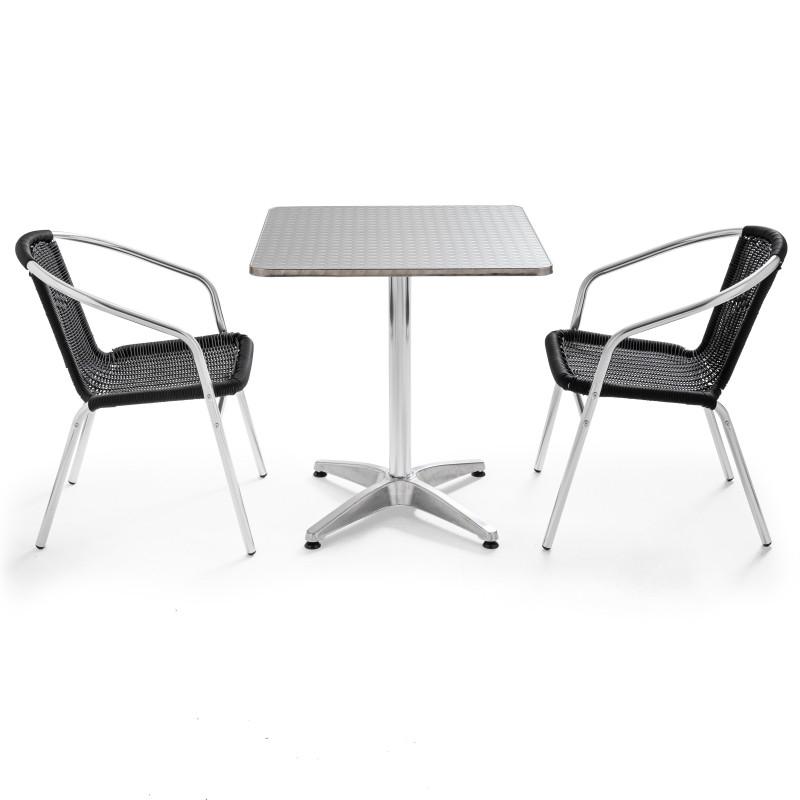 Table carré alu bistro et 2 chaises noires en résine