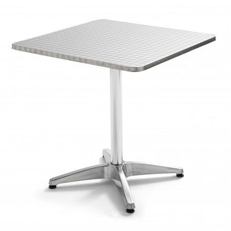 Table carrée en aluminium pied ajustable