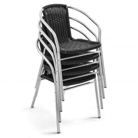 Chaise empilable brasserie en résine noire