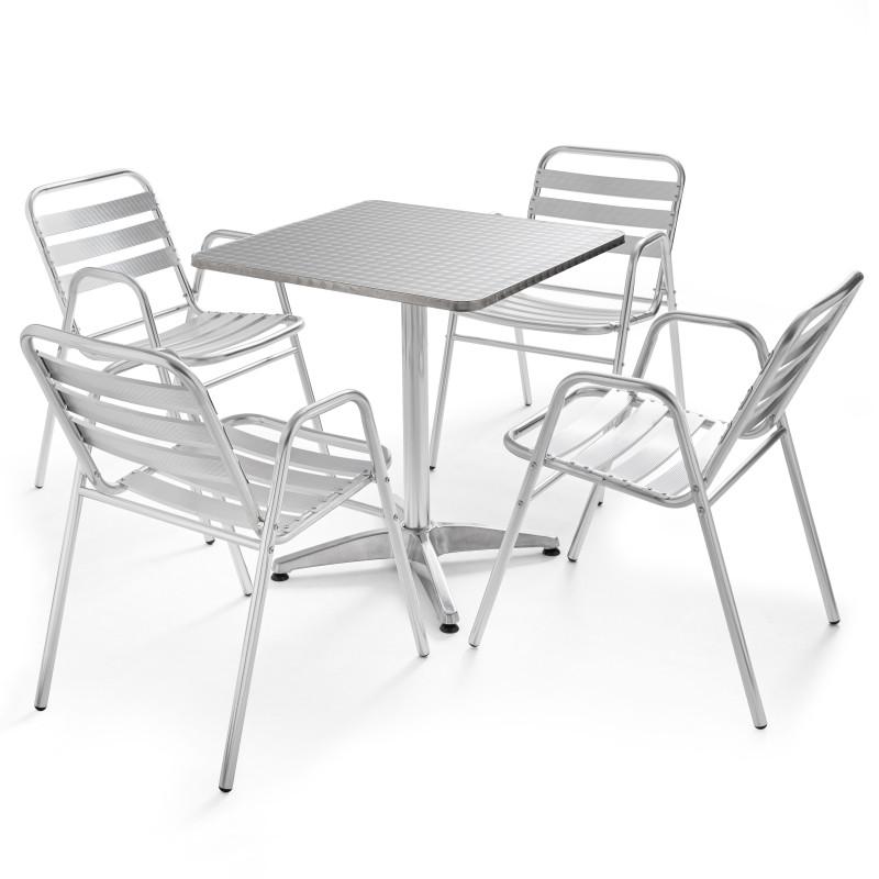 Table carrée bistro en aluminium et 4 fauteuils