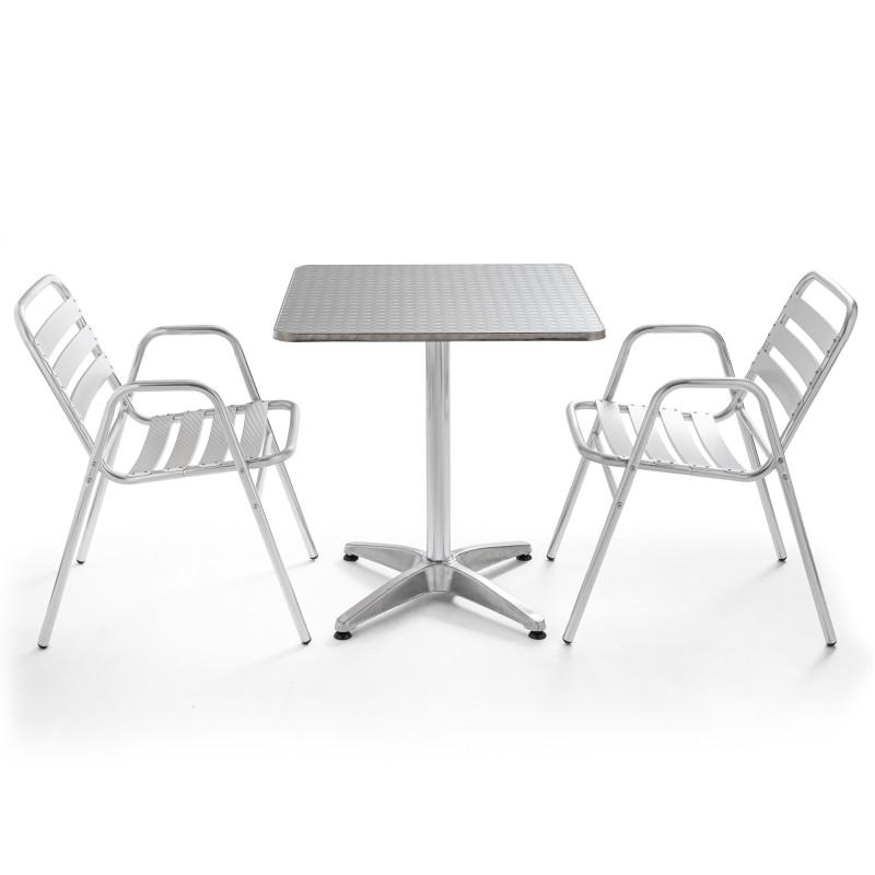 Table carrée alu CHR et 2 fauteuils