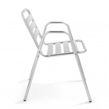 Chaise bistro restaurant en aluminium avec accoudoir