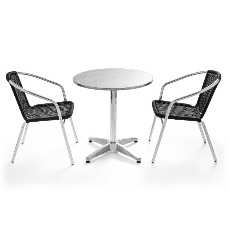 Table ronde CHR en alu et 2 fauteuils en résine noir