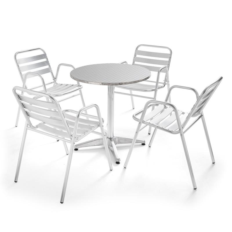 Table ronde alu CHR et 4 fauteuils en aluminium