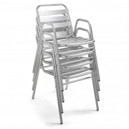 Chaise terrasse empilable aluminium gris