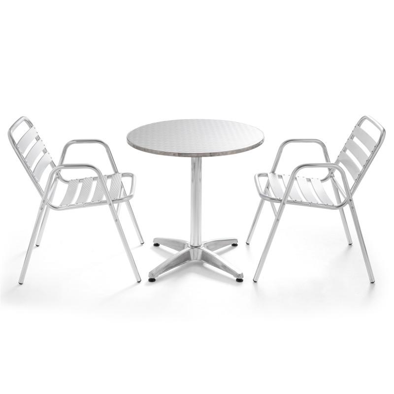 Table ronde bistro en alu et 2 fauteuils gris empilables