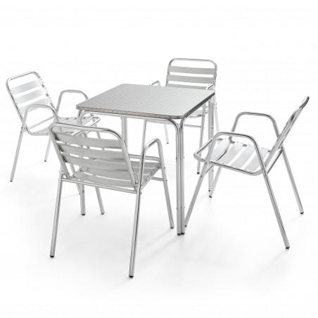 Table carrée bistro CHR et 4 fauteuils alu empilable