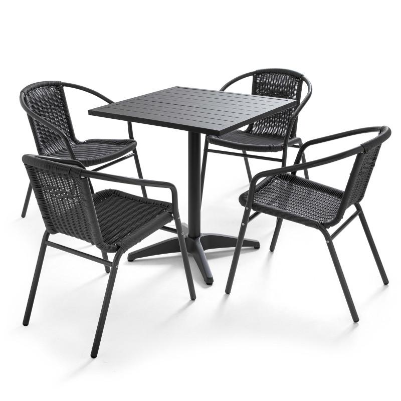 Table carrée CHR et 4 fauteuils résine GRIS