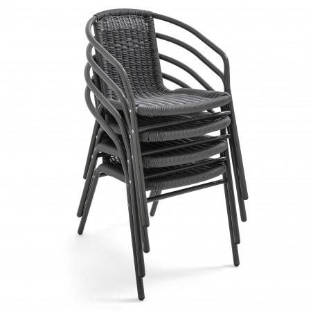 Chaise terrasse empilable café brasserie GRISE aluminium