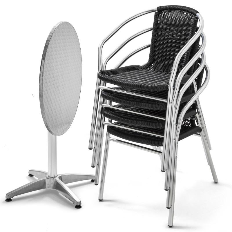 Table bistro CHR pliante et 4 fauteuils en résine noir