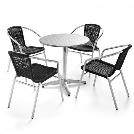 Table ronde 4 places en aluminium et 4 chaises résine