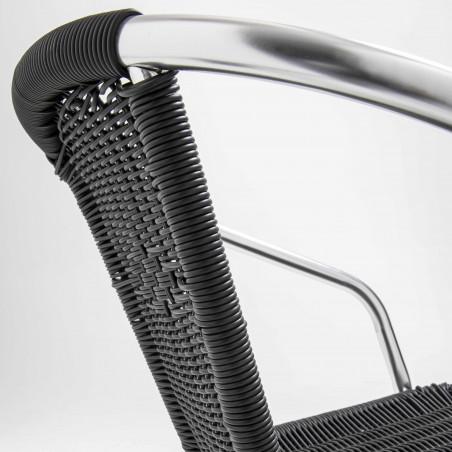 Chaise bistro noire avec accoudoirs