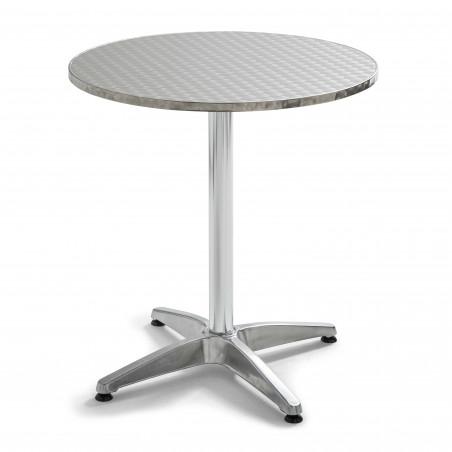 Table ronde terrasse hôtel aluminium rabattable
