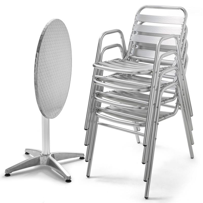 Table ronde CHR rabattable et 4 fauteuils aluminium