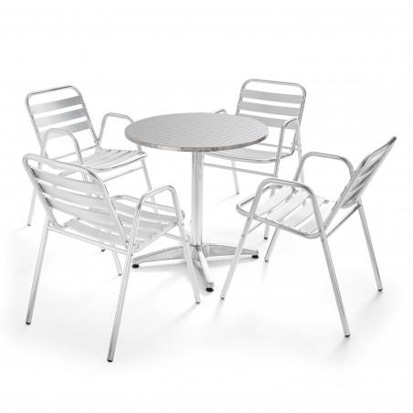 Table ronde bistro CHR et 4 fauteuils en aluminium